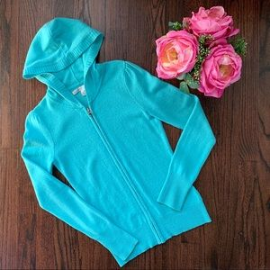 Hooded Aqua Cashmere Sweater, Old Navy size XS